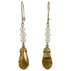 Hammerman Brothers Citrine, Pearl, and Diamond Dangle Earrings