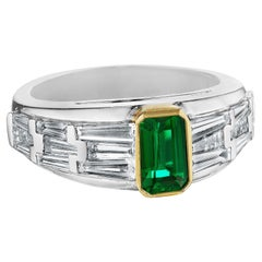 Hammerman Brothers Deco Inspired Emerald and Diamond Ring