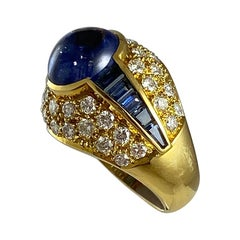 Hammerman Brothers Diamond and Cabochon Sapphire Band