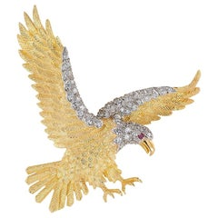 Hammerman Brothers Diamond Gold American Bald Eagle Brooch Pendant