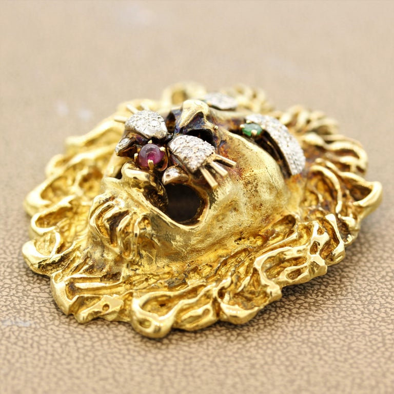 Mixed Cut Hammerman Brothers Diamond Ruby Emerald Gold Lion Brooch For Sale