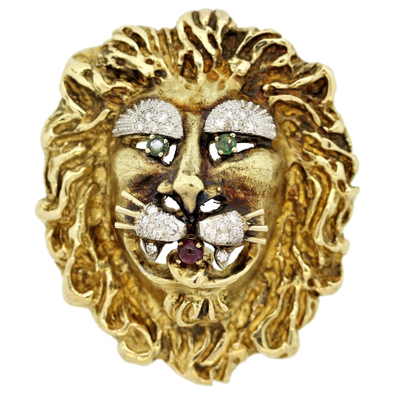 Hammerman Brothers Diamond Ruby Emerald Gold Lion Brooch For Sale