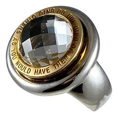 Hammerman Brothers Do Unto Others Round Crystal Mantra Ring