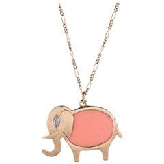 Hammerman Brothers Elephant Pendant Necklace Diamond 14k Gold Vintage Jewelry