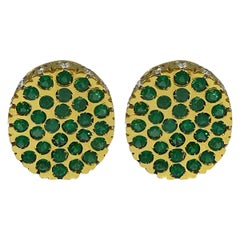Hammerman Brothers Emerald Dot and Diamond Earrings