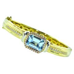 Hammerman Brothers Fine Aquamarine and Diamond Bangle Bracelet