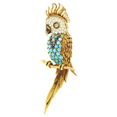 Hammerman Brothers Gemstone Diamond Multi-Color Gold Parrot Brooch