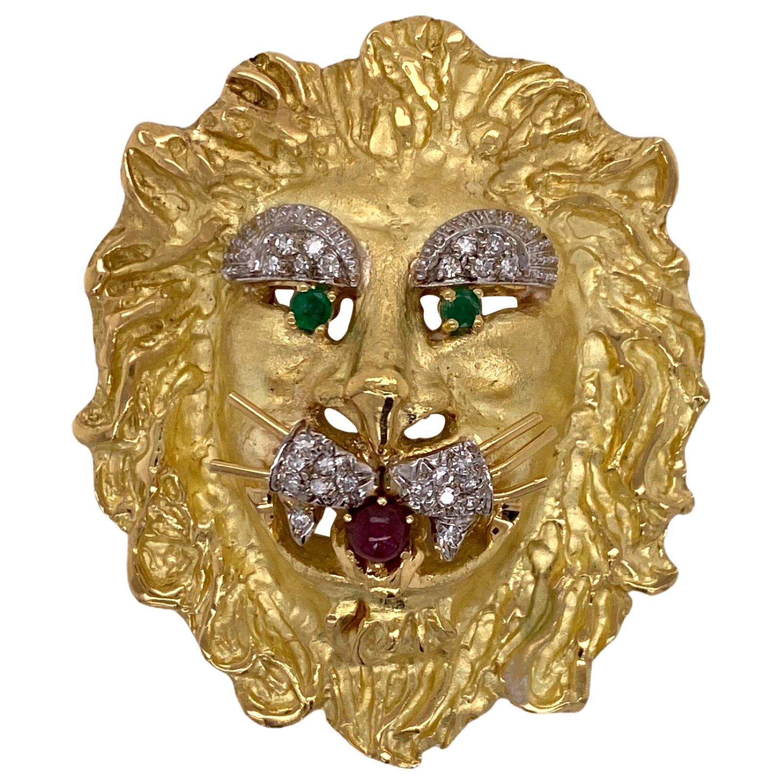 Hammerman Brothers Lion Diamond Emerald Ruby Vintage Pendant Pin Brooch 18 Karat