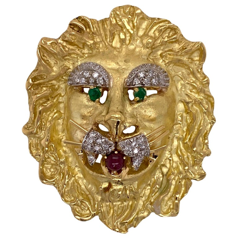Hammerman Brothers Lion Diamond Emerald Ruby Vintage Pendant Pin Brooch 18 Karat For Sale
