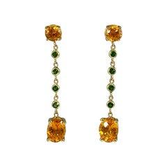 Hammerman Brothers Mandarin Garnet and Tsavorite Dangle Earrings