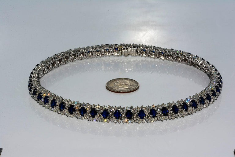 Hammerman Brothers Oval Blue Sapphire and Diamond Necklace Platinum For Sale 4