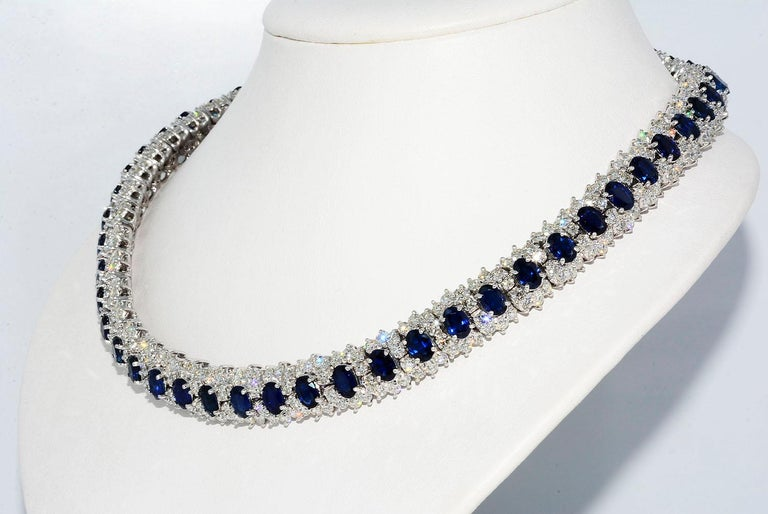 Hammerman Brothers Oval Sapphire and Diamond Necklace Platinum  Oval Blue Sapphires Heat Only 21.75 ct Round Diamonds 21.00 ct F VS1 Platinum Length 17 Inches