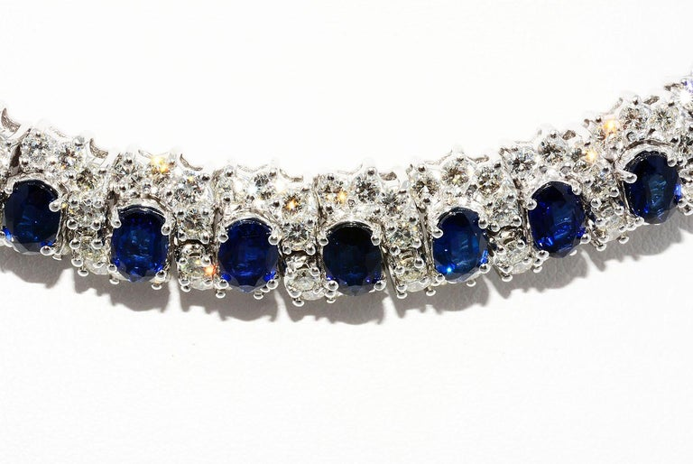 Neoclassical Hammerman Brothers Oval Blue Sapphire and Diamond Necklace Platinum For Sale