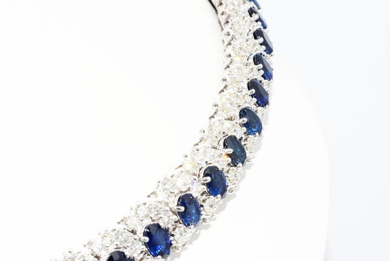 Oval Cut Hammerman Brothers Oval Blue Sapphire and Diamond Necklace Platinum For Sale