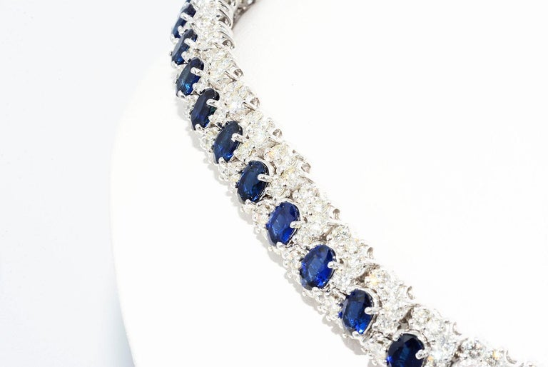 Hammerman Brothers Oval Blue Sapphire and Diamond Necklace Platinum In Excellent Condition For Sale In New York, NY