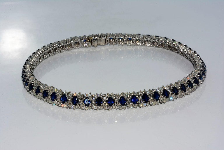 Hammerman Brothers Oval Blue Sapphire and Diamond Necklace Platinum For Sale 1