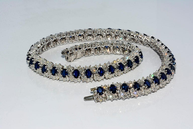 Hammerman Brothers Oval Blue Sapphire and Diamond Necklace Platinum For Sale 2