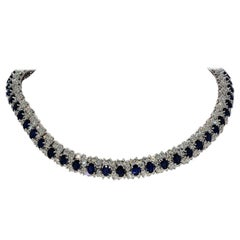 Hammerman Brothers Oval Blue Sapphire and Diamond Necklace Platinum