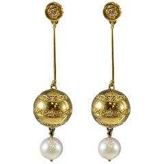 Hammerman Brothers Pearl and Diamond Drop Earrings