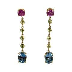 Hammerman Brothers Pink Sapphire, Green Garnet, and Aquamarine Dangle Earrings