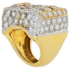 Hammerman Brothers Platinum and 18 Karat Yellow Gold 10 Carat Diamond Ring