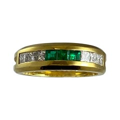 Hammerman Brothers Princess Cut Diamond and Emerald Ring
