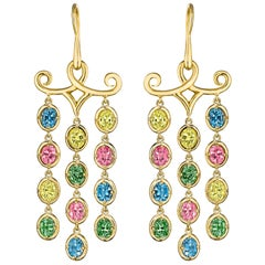 Hammerman Brothers Rainbow Sapphire Chandelier Earrings
