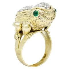 Hammerman Brothers Retro 2.75 Carat Diamond Emerald 14 Karat Gold Frog Ring