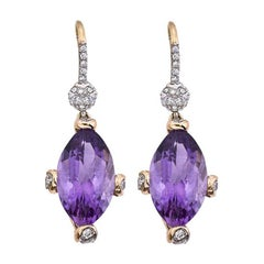 Hammerman Brothers Rose Gold Diamond and Amethyst Earrings