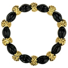 Hammerman Brothers Smart and Tailored, Fluted Onyx and Gold Choker Necklace