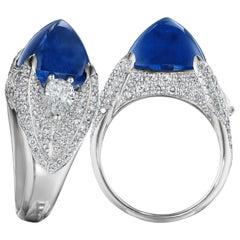 Hammerman Brothers Sugarloaf Cabochon Ceylon Sapphire and Diamond Ring