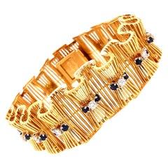 Hammerman Brothers Vintage Diamond and Sapphire Bracelet 18 Karat