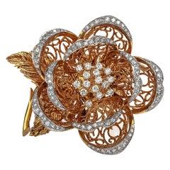 Hammerman Brothers Vintage Dimond 18 Karat Gold Flower Brooch