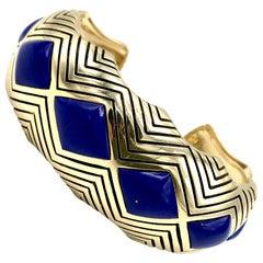 Hammerman Brothers Vintage Yellow Gold Lapis Cuff Bracelet