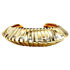 Hammerman Brothers Vintage Yellow Gold Ribbed Cuff Bracelet