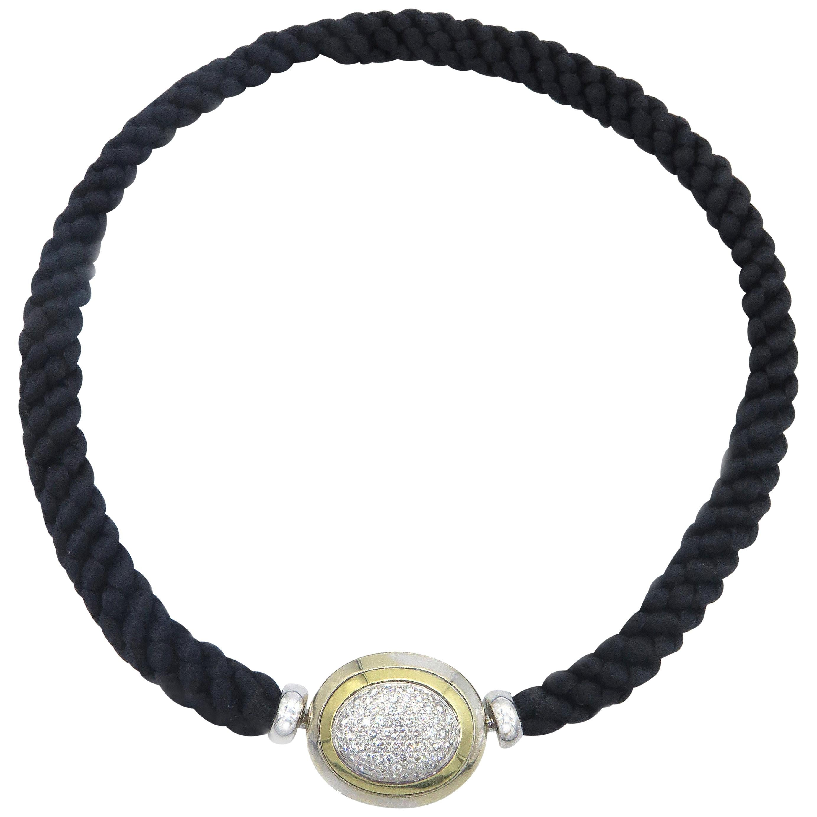 Hammerman Fine Diamond Luxurious Cord Choker Necklace