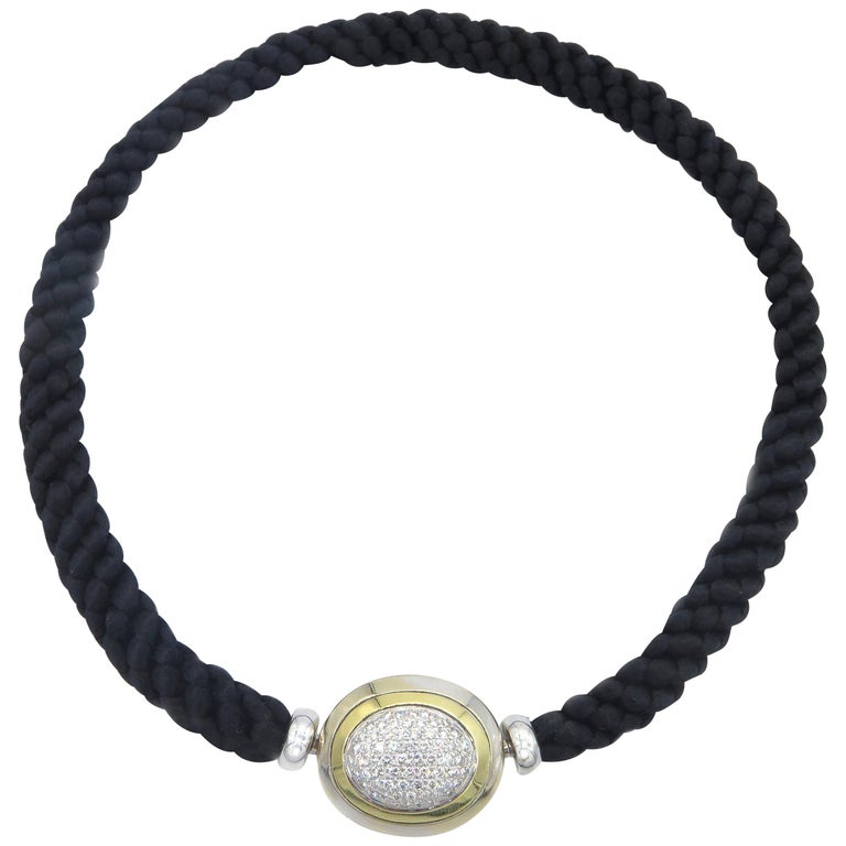 Hammerman Fine Diamond Luxurious Cord Choker Necklace For Sale