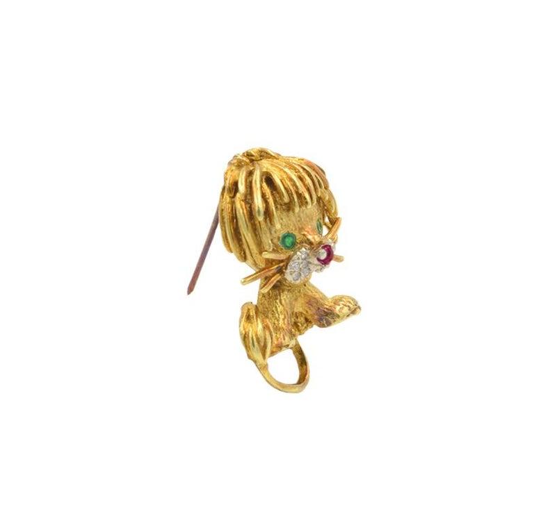 Round Cut Hammerman Lion Brooch For Sale