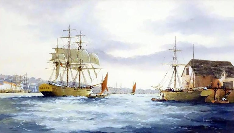 Marine Watercolour Painting by Ken Hammond by well listed British Marine artist Ken Hammond (1948 - )  Watercolour on paper  Signed by the artist in the lower right  This English Marine School painting depicts an estuary scene with clipper ships,