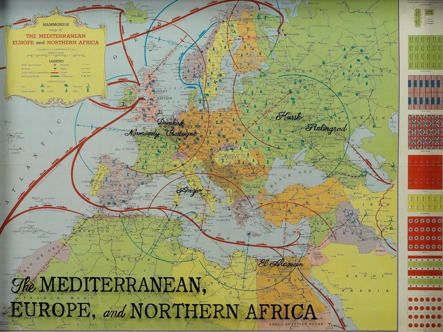 Hammond\'s Map of the Mediterranean, Europe, and Africa ...