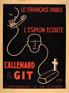 Original Vintage WWII Poster The French Speak The Spy Listens The German Acts