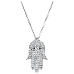 Hamsa Diamond Necklace 1.15 Carats