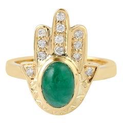 Hamsa Emerald Diamond 18 Karat Gold Ring