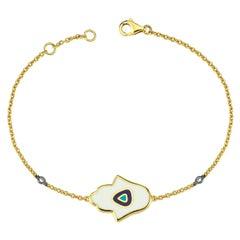 Hamsa Hand Diamond Enamel Bracelet 18 Karat Yellow Gold with Minimal Evil Eye