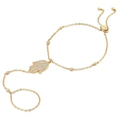 Hamsa Hand Yellow Gold Chain Bracelet with Ring Attachment