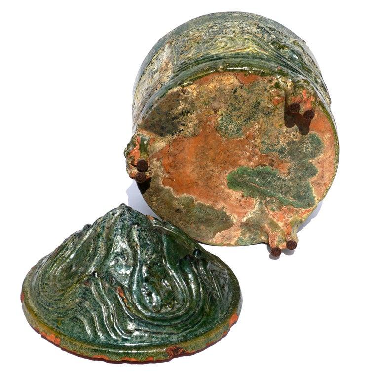 Terracotta Han Dynasty Glazed Hill Jar For Sale