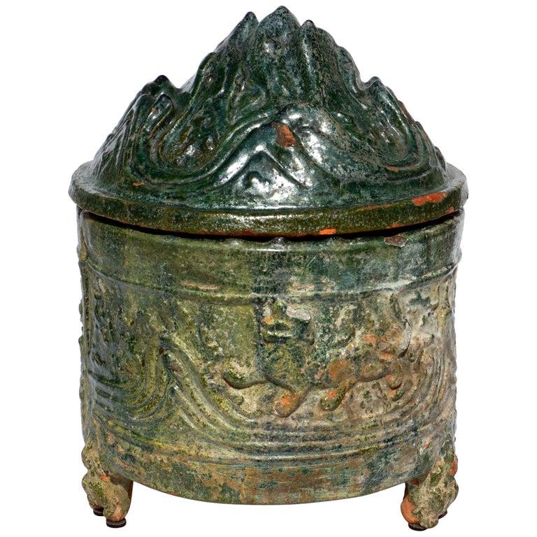 Han Dynasty Glazed Hill Jar For Sale