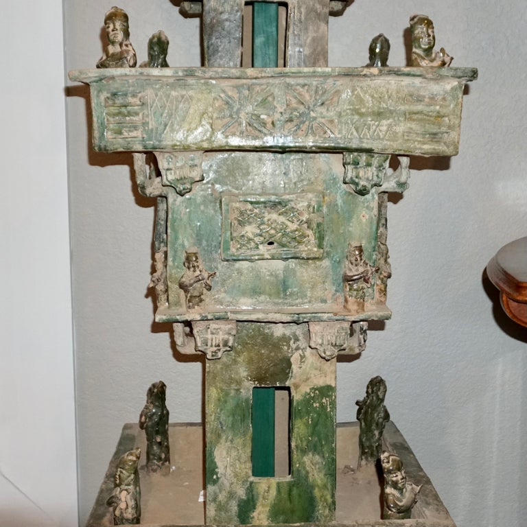 Han Dynasty Green Glazed Archers Watch Tower Oxford TL Tested In Good Condition For Sale In Dallas, TX