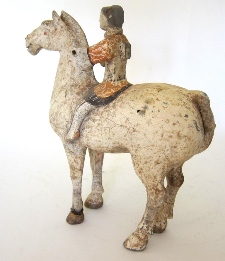 Chinese Han Dynasty Horse and Rider For Sale