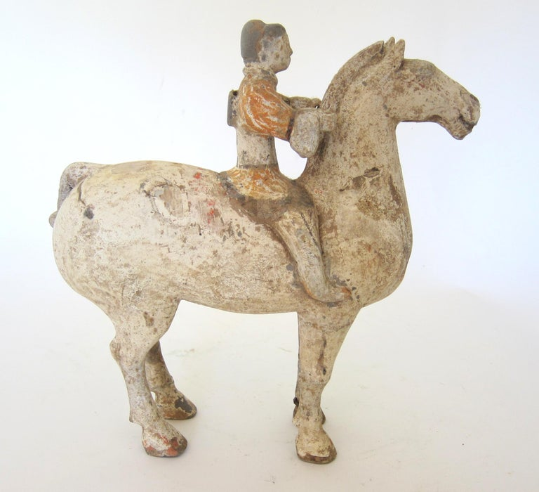 Hand-Crafted Han Dynasty Horse and Rider For Sale